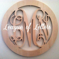 24 inch Circle BORDER Vine Connected Letter Monogram