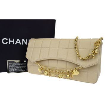 Authentic CHANEL Charm Chocobar Quilted Chain Shoulder Bag Leather Beige 682B061