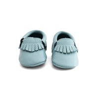 Fringe Baby Leather Moccasins Teal Seal