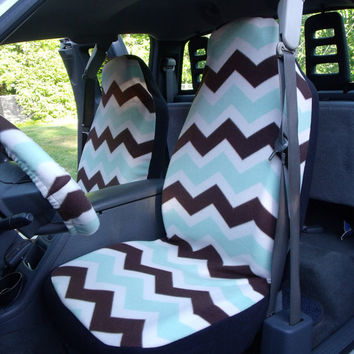 1 Set of Sage Brown Chevron Print  Seat Cover and Sheering Wheel Cover Custom Made