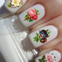 Victorian Flowers nail decals tattoos nail art