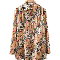 Khaki Floral Print Long Sleeve Shirt