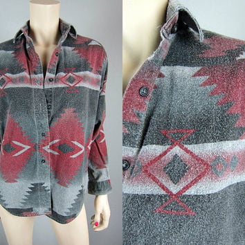 Woolrich Vintage Southwestern Navajo Flannel Shirt Indian Tribal Navajo Top Grey Red