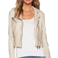 DOMA Fitted Moto Jacket in Beige