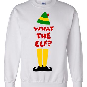 What the Elf Christmas Tshirt or Sweatshirt  Ugly Christmas Sweater Party New for 2017