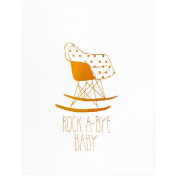 Eames Rocking Chair Copper Foil New Baby Card
