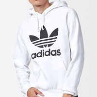 DCCKYB5 adidas Trefoil White Pullover Hoodie