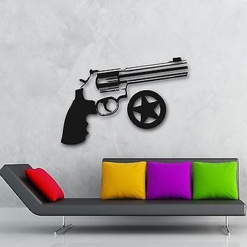 Wall Stickers Vinyl Decal Revolver Gun Sheriff Star Police (ig862)