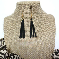 Boho Black Suede Leather Tassel Earrings - Boho Tribal fringe earrings, black suede tassels earrings, Tribal Hippie, gift