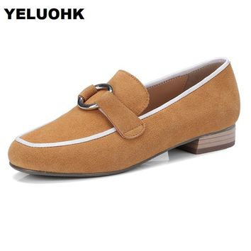 2018 Brand New Oxford Shoes For Women Casual Slip On Shoes Women Flats Suede Leather Spring Ladies Shoes