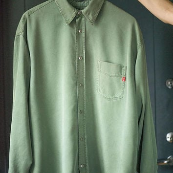 Men's Green Shirt Joop Jeans. Sage Green Long Sleeve Shirt Eco Friendly. Retro Men Shirt Size L. Boyfriend Shirt Tencel. Vintage Joop Shirt