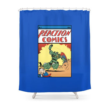 Society6 Reaction Comics Shower Curtains