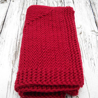 Chunky Red Blanket  Hand Knitted Baby by BabyBlanketsAndETC