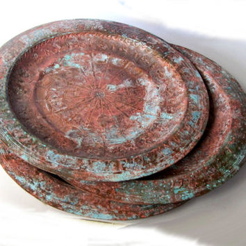 Moroccan wall hanging copper plate. Verdigris patina. Engraved copper. Decorative ornate copper plates. Vintage.