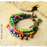 Bohemian Jewelry, Hippie Boho Gypsy Bracelet, Colorful Layered Ethnic Tribal Bracelet, bohostyleme, Kaye Kraus