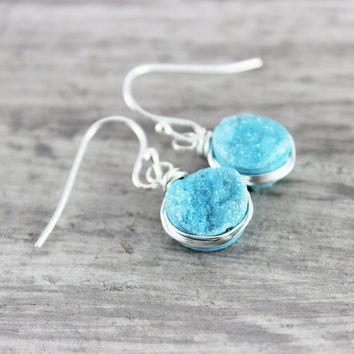 Light Blue Druzy Earrings, Sky Blue Earrings, Druzy Gemstone Earrings, Wire Wrap Earrings, Sterling Silver Earrings, Silver Dangle Earrings