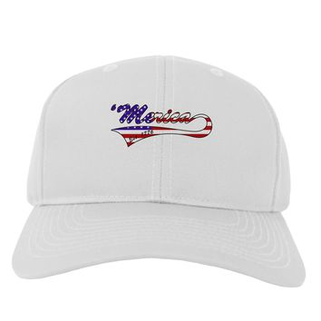 Merica Established 1776 - American Flag Style Adult Baseball Cap Hat by TooLoud