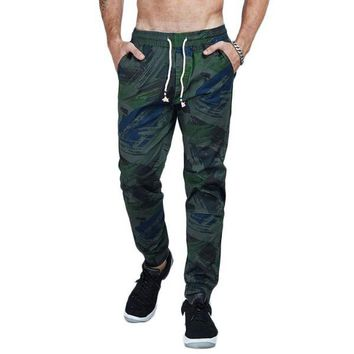 Camouflage Cotton Twill Tapered Jogger Pants