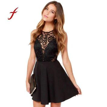 Feitong Women Dress Casual Backless Prom Cocktail Lace Short Mini Dress Sleeveless Party Ball Gown Dresses