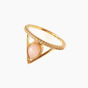 Pave Triangle Ring - Pink Opal