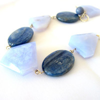 Blue lace agate bracelet with kyanite in solid silver,blue tennis bracelet,  gifts under 50
