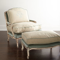 Old Hickory Tannery Misty Bergere Chair & Ottoman