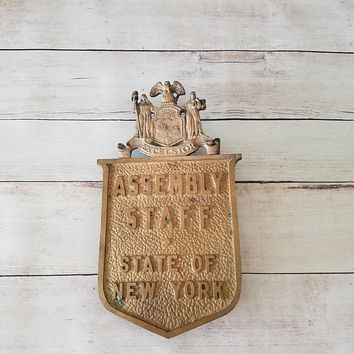 New York Antiques/ New York Architecture/ New York Assembly/ State of New York/ New York City Collectible/ Brass Wall Hanging/ Excelsior