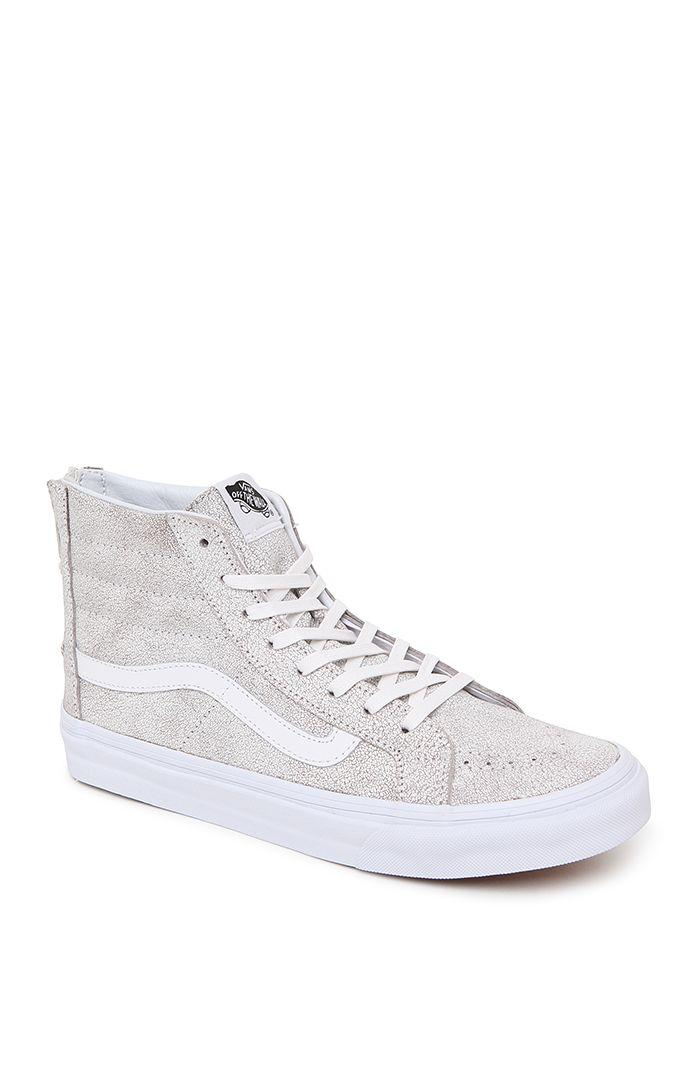 02f7f2913de4 Vans Sk8 Hi Crackle Suede Slim Zip Sneakers - Womens Shoes - White