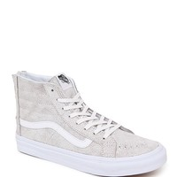 Vans Sk8 Hi Crackle Suede Slim Zip Sneakers - Womens Shoes - White