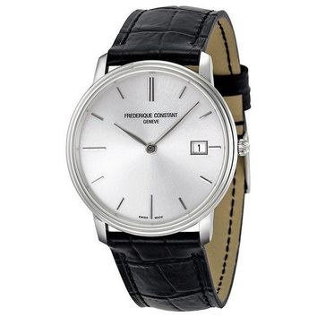 Frederique Constant Slim Line Silver Dial Black Leather Mens Watch 220NS4S6