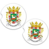 Puerto Rico World Flag Coat Arms Sandstone Car Cup Holder Matching Coaster Set