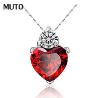 6 Colors Charms Zircon Heart love Women Pendant for jewelry making pendulum Platinum  Plated necklace