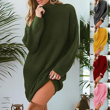 Autumn Winter Candy Color Long Loose Sweater