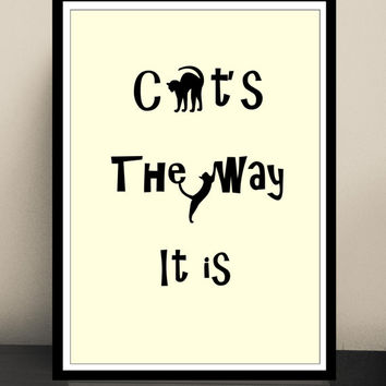 Typography art print with funny cat quote, Cat art, Pet quotes, Typography print, Cat lover, Quote prints, Pet lovers gift, Funny wall art