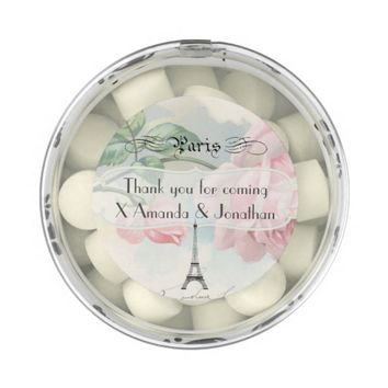 Vintage Paris Themed Wedding Party Pink Rose Chewing Gum Favors
