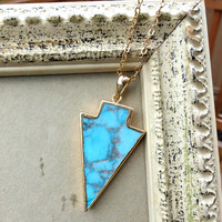 Turquoise arrow stone pendant  electroplated in gold, gold chain necklace. Bohemian jewelry.