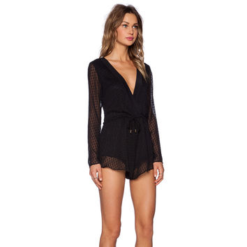 Black Deep V-neck Long Sleeve Mesh Backless Romper