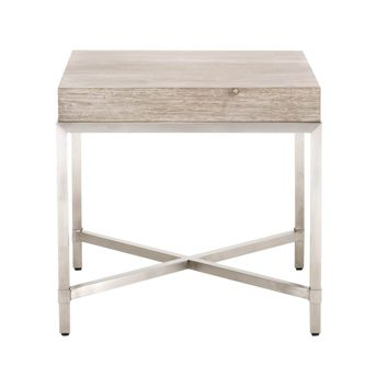 Strand End Table Natural Gray, Brushed Stainless Steel