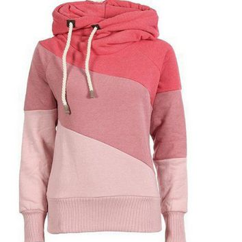Casual Color Block Hooded Jacket