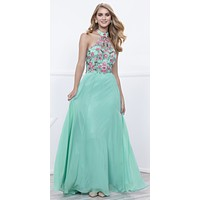 Mint Green Embroidered Bodice Halter Open Back Long Formal Dress