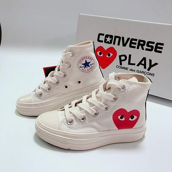 CDG Play x Converse Chuck Taylor 70s All Star High Top White Black Canvas Child Sneaker Toddler Kid Shoes - Aliciamr