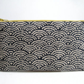 Seigaiha Indigo Print. Pencil Case, Pencil Pouch. Traditional Japanese fabric print. Navy blue, Minimalist, Zen.