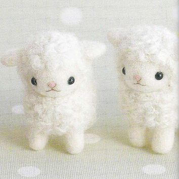 Cute Needle Felt Sheep Mascot Needle Felting Miniature Animal Doll pdf E PATTERN in Japanese and Pieces Titles in English