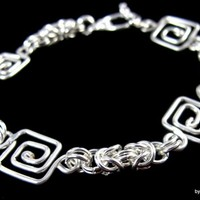 Handcrafted Greek Key and Byzantine Chain Bracelet