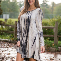 Tie Dye Want You To Want Me Dress, Navy-Gray