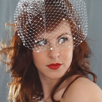"""Sparkle"" Short Birdcage Veil with AB Crystals"