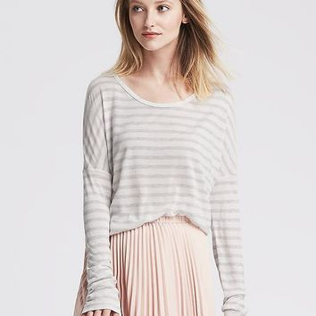 Banana Republic Womens Striped Dolman Sleeve Shirttail Tee