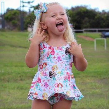 2018 Summer Romper Summer Outfits 1st Birthday Beachwear Mermaid Princess Baby Girl Clothes Summer Girl Outfit Kids Tiny Cotton
