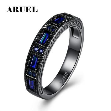 ARUEL Vintage Blue Crystal Rings For Women Gifts Fashion Cubic Zircon Jewelry Party Wedding Finger Rings Famale Bijoux Bague