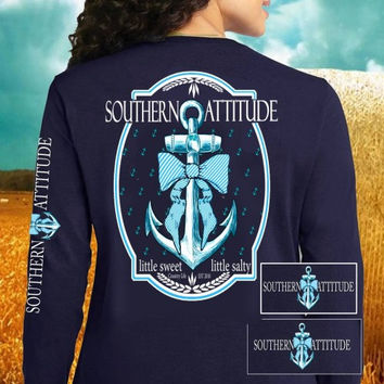 Country Life Outfitters Southern Attitude Anchor Big Bow Sweet Vintage Girlie Bright Long Sleeves T Shirt
